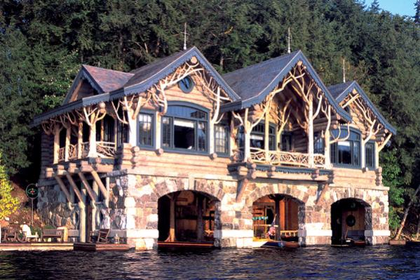 Exteriors custom handcrafted log homes by maple island for Big log cabin houses
