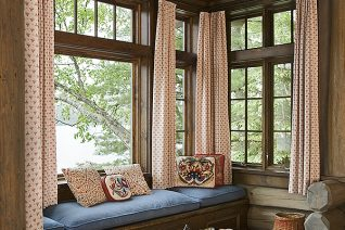 Interior, vertical, Lothrop Cabin window seat with view out to Upper St. Regis Lake, Camp Topridge, Paul Smiths, New York, Maple Island Log Homes