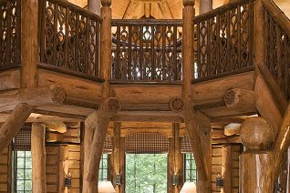 Interior, vertical, living area, Russian Cabin, Camp Topridge, Paul Smiths, New York, Maple Island Log Homes