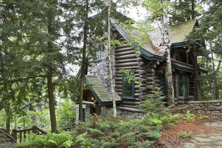 Exterior, horizontal, south guest cabin 3/4 view, Camp Topridge, Paul Smiths, New York, Maple Island Log Homes