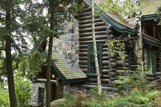 Exterior, vertical, south guest cabin entry, Camp Topridge, Paul Smiths, New York, Maple Island Log Homes