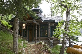 Exterior, horizontal, Lothrup Cabin entry, Camp Topridge, Paul Smiths, New York, Maple Island Log Homes