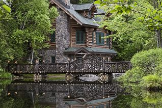Exterior, vertical, Honeymoon Cabin on Upper St. Regis Lake, Camp Topridge, Paul Smiths, New York, Maple Island Log Homes